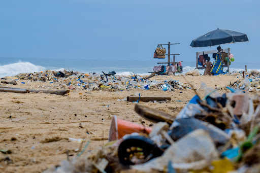 Image showing the aftermath of beachgoers not cleaning up after themselves. Shows what currently occurs in areas with no framework or organization to prevent wasteful behavior without a DMO